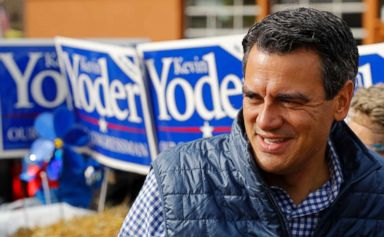 PHOTO: Rep. Kevin Yoder, R-Kan., talks to supporters during a parade in Overland Park, Kan. on Sept. 29, 2018.
