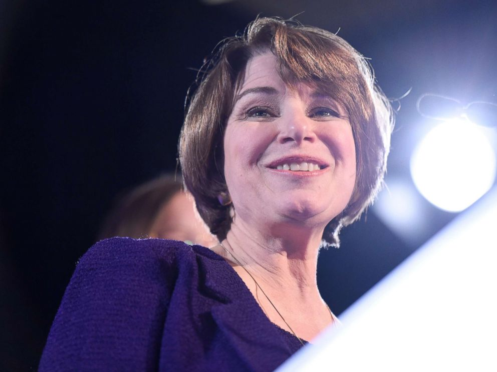 PHOTO: Sen. Amy Klobuchar, D-Minn., speaks after winning re-election during a election night event held by the Democratic Party, Nov. 6, 2018, in St. Paul, Minn.