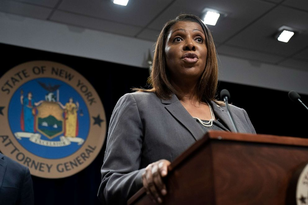 PHOTO: New York Attorney General Letitia James speaks during a press conference, June 11, 2019 in New York.