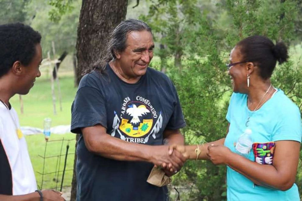 PHOTO: Chairman Juan Mancias of the Carrizo/Comecrudo tribe of Texas attends a community event in August 2016.