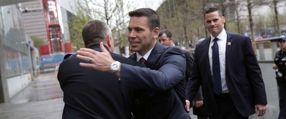PHOTO: Department of Homeland Security (DHS) Acting Secretary Kevin McAleenan greets a U.S. Customs and Border Protection official at the One World Trade Center, April 22, 2019, in New York.