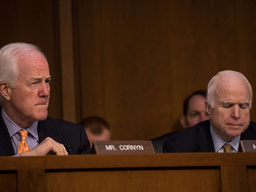 PHOTO: Sen. John Cornyn (R-TX), and Sen. John McCain (R-AZ), listened as former FBI Director James Comey testified in front of the Senate Intelligence Committee, June 8, 2017.