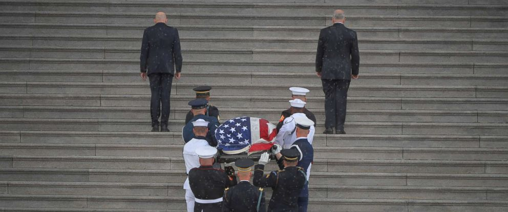 PHOTO: The casket of Senator John McCain is carried up the steps of the Capitol in Washington, Aug. 31, 2018.