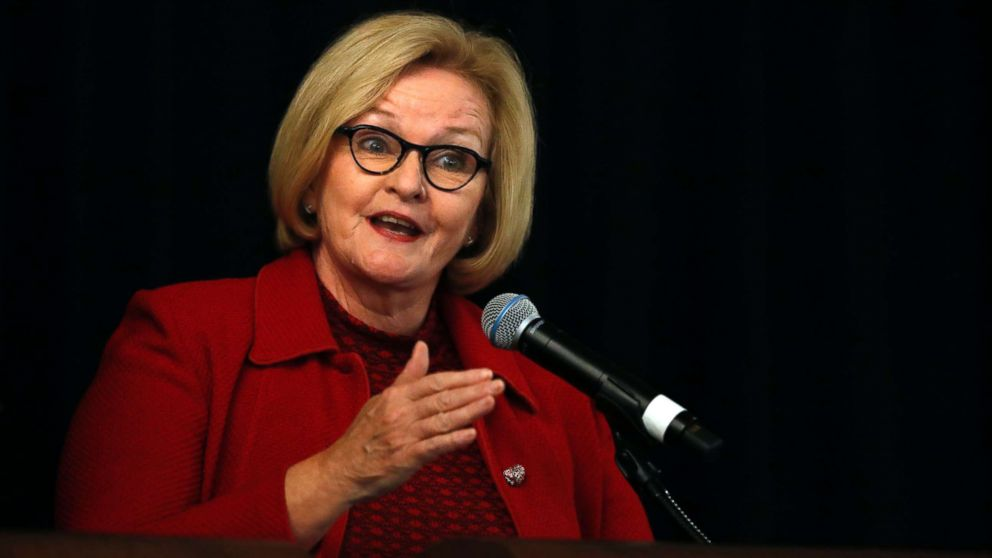 Sen. Claire McCaskill speaks during a candidate forum at the annual Missouri Press Association convention in Maryland Heights, Mo., Sept. 14, 2018.