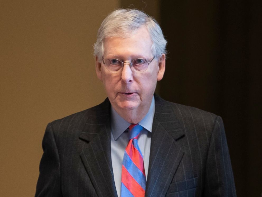 PHOTO: Senate Majority Leader Mitch McConnell walks onto the Senate floor at the Capitol, Feb. 14, 2019.