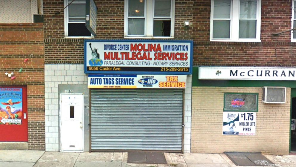 "The storefront of ""Molina Multilegal Services"" in Philadelphia, Penn., can be seen in an undated image from Google Maps Street View."