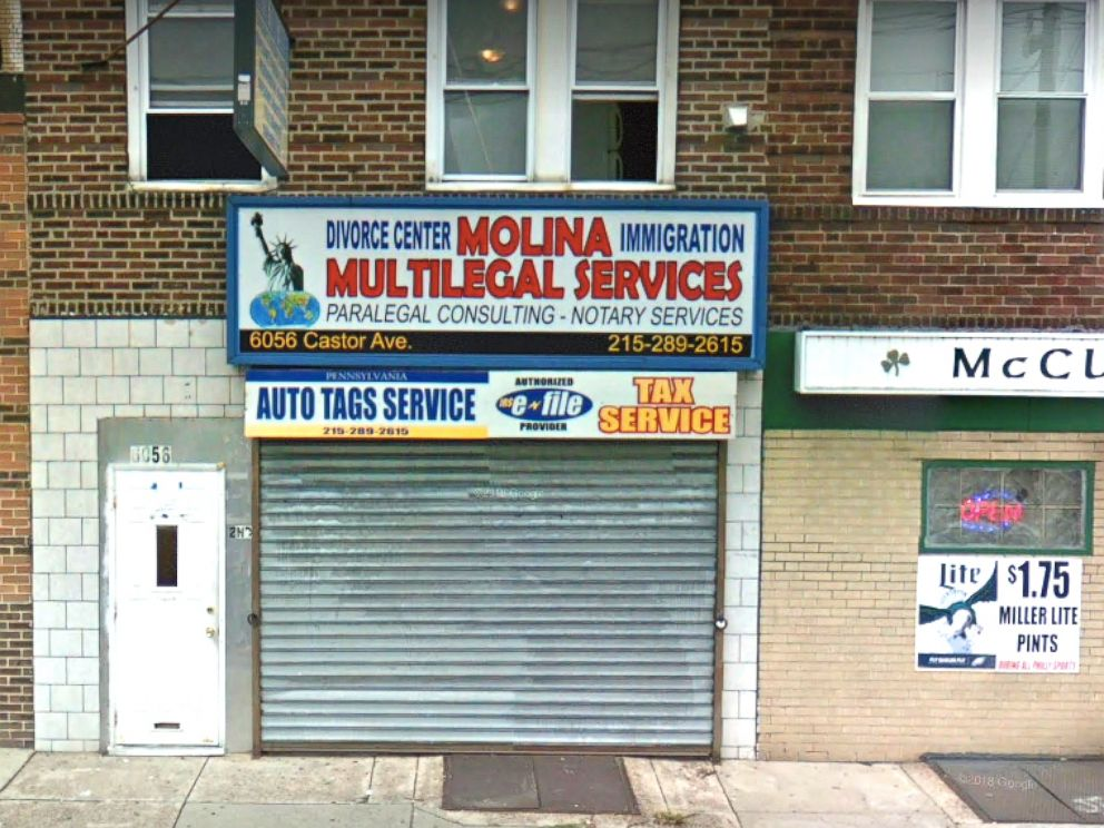 PHOTO: The storefront of Molina Multilegal Services in Philadelphia, Penn., can be seen in an undated image from Google Maps Street View.