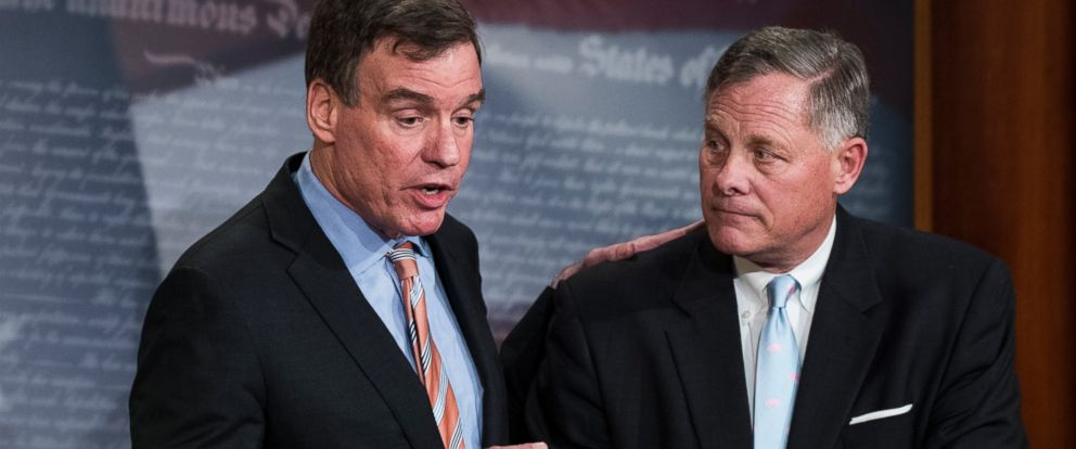 PHOTO: Senate Intelligence Vice Chair Mark Warner, D-Va., left, with Senate Intelligence Chairman Richard Burr, R-N.C.,at a news conference March 29, 2017, to provide an update on the committees investigation of Russian interference in the 2016 election.
