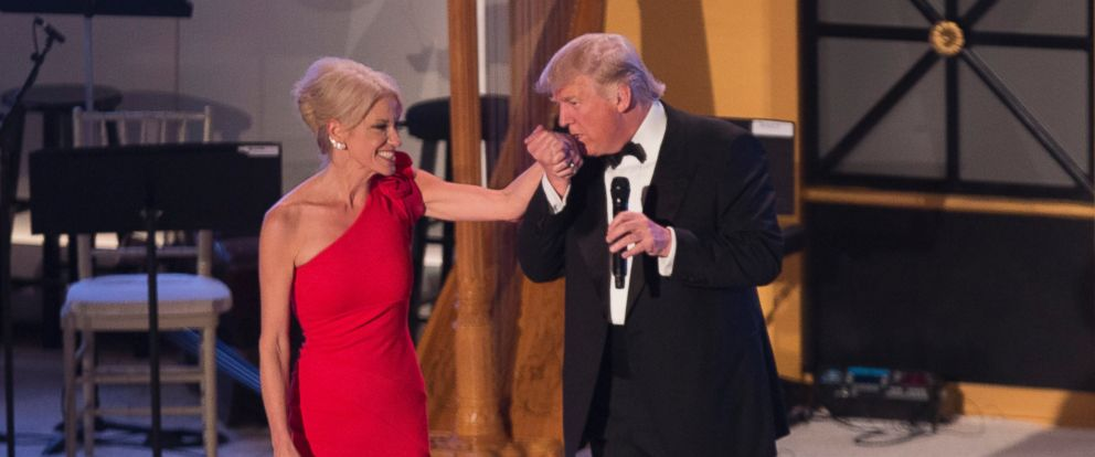 """PHOTO: President-elect of The United States Donald J. Trump kisses the hand of his campaign manager Kellyanne Conway at the """"Candlelight"""" dinner to thank donors in Washington, Jan. 19, 2017."""