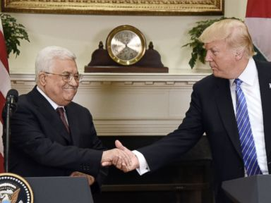 PHOTO: President Donald Trump gives a joint statement with President Mahmoud Abbas of the Palestinian Authority in the Roosevelt Room of the White House, on May 3, 2017, in Washington.