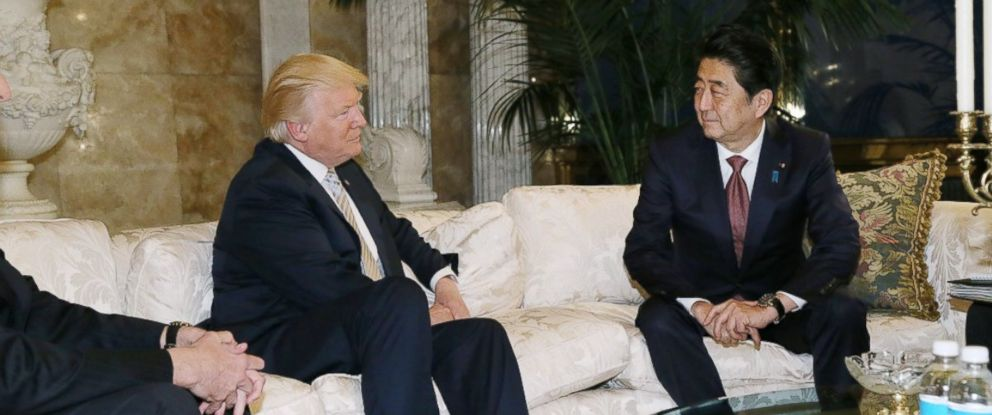 PHOTO: In this photo released by Japans Cabinet Public Relations Office, Japanese Prime Minister Shinzo Abe, right, chats with U.S. President-elect Donald Trump, left, during a meeting at Trump Tower in Manhattan, New York, Nov. 17, 2016.
