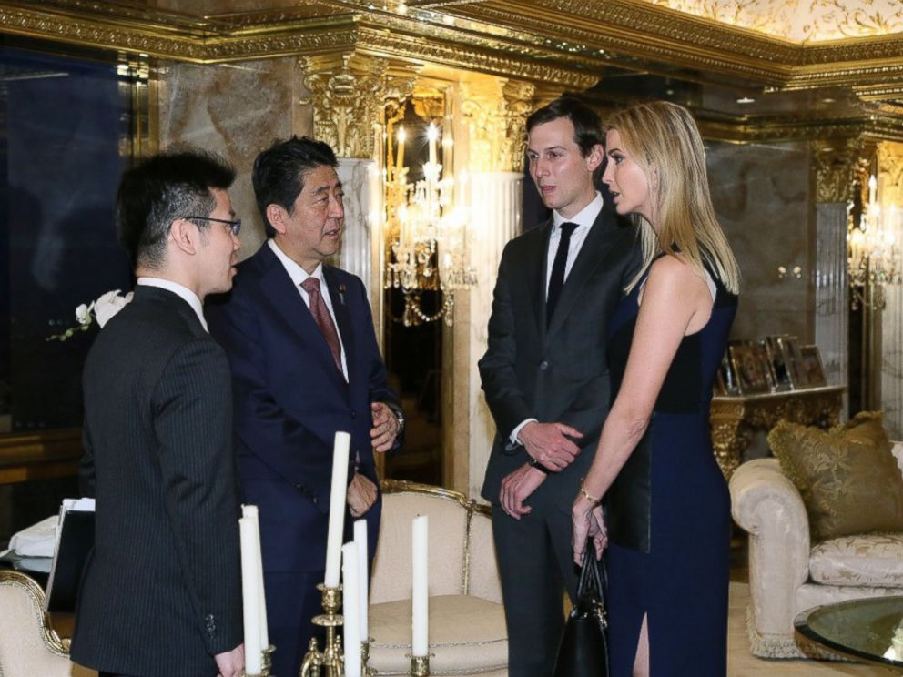 PHOTO: In this photo released by Japans Cabinet Public Relations Office, Japanese Prime Minister Shinzo Abe, second from left, chats with Ivanka Trump and Jared Kushner at Trump Tower in Manhattan, New York, Nov. 17, 2016.
