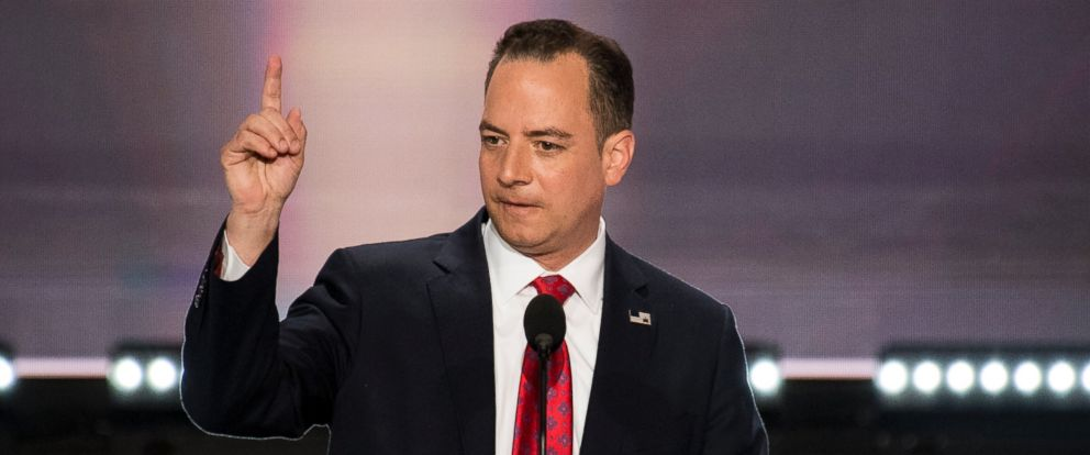 PHOTO: Republican National Committee chairman Reince Priebus addresses the 2016 Republican National Convention in Cleveland, Ohio, on July 18, 2016.