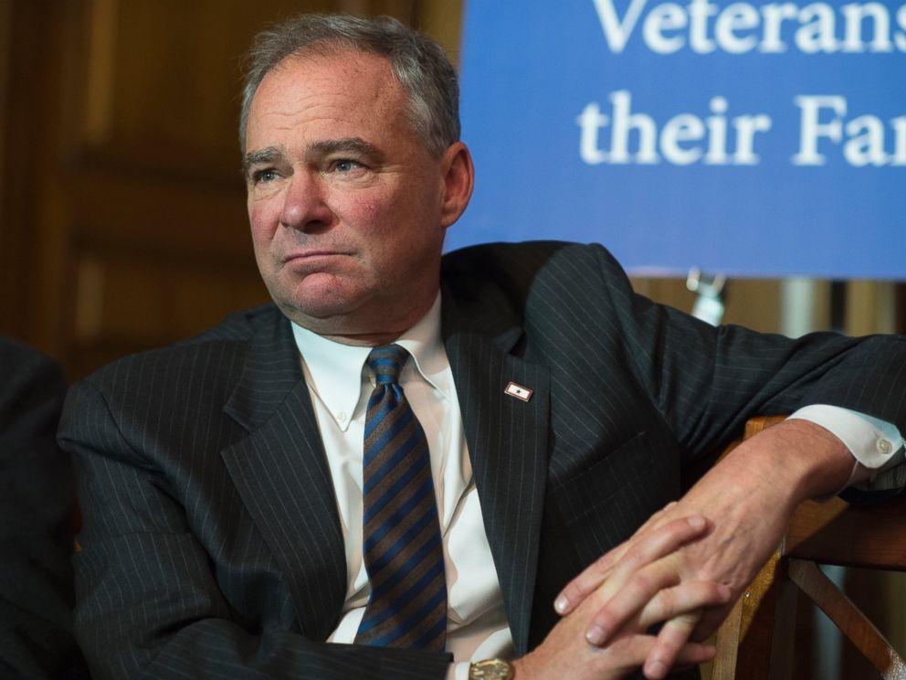 PHOTO: Sen. Tim Kaine, D-Va., attends a news conference with Filipino World War II veterans in the Capitol, June 9, 2016, in Washington.