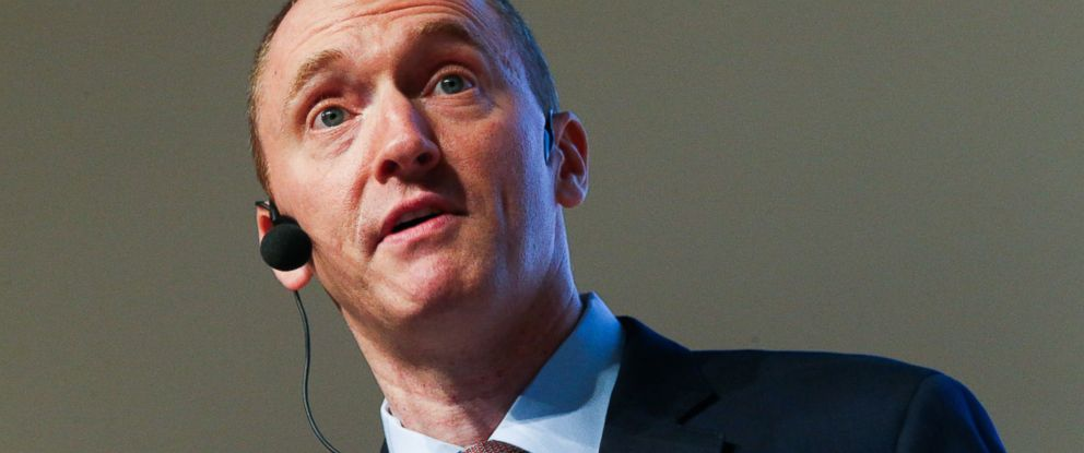 "PHOTO: Carter Page speaks during a lecture titled ""The evolution of the worlds economy: tendencies and potential"" at the World Trade Center in Moscow, July 7, 2016."