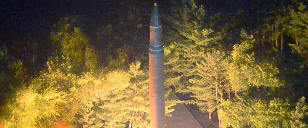 PHOTO: A photo made available by the North Korean Central News Agency shows the second test-fire of ICBM Hwasong-14 at an undisclosed location in North Korea, July 28, 2017.