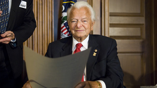PHOTO: Sen. Robert C. Byrd during a ceremony at the U.S. Capitol honoring him for his contributions to education. The National Council for History Education presented Byrd, its first recipient, with the award named in his honor, in this file photo from Se