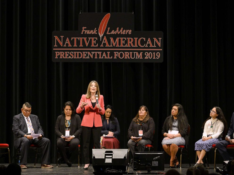 PHOTO: Democratic presidential candidate Marianne Williamson speaks at the Frank LaMere Native American Presidential Forum, Aug. 19, 2019, in Sioux City, Iowa.