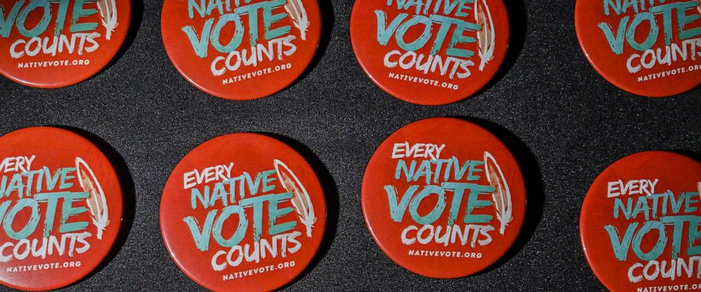 PHOTO:Buttons available at the Frank LaMere Native American Presidential Forum on Aug. 20, 2019 in Sioux City, Iowa.
