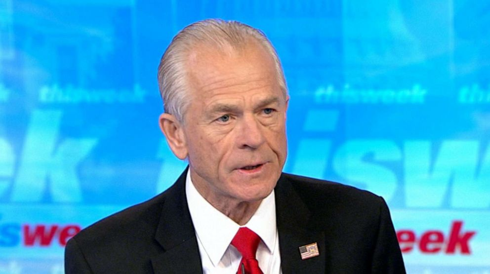 PHOTO: Peter Navarro speaks with Martha Raddatz on This Week With George Stephanopoulos, Aug. 18, 2019.
