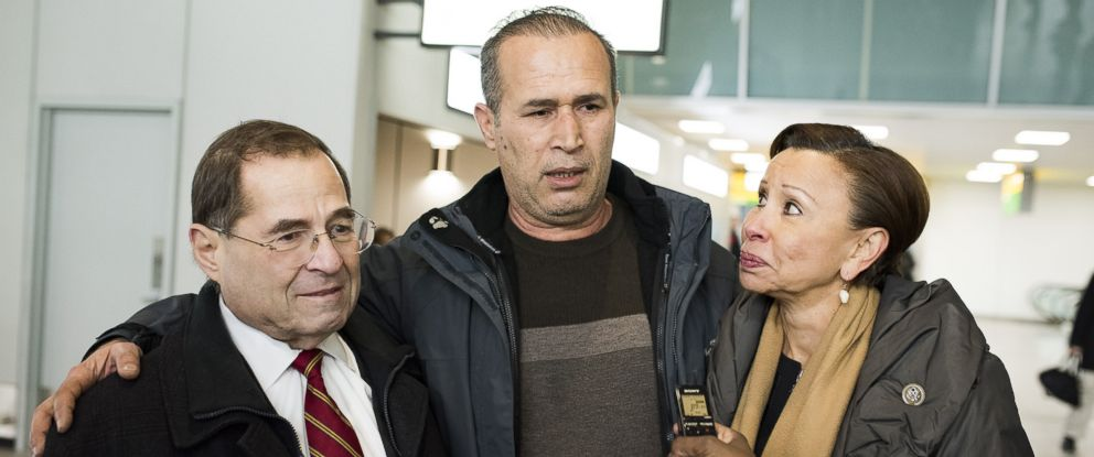 PHOTO: From left, Congressman Jerrold Nadler, Hameed Khalid Darweesh, and Congresswoman Nydia M. Velázquez celebrate Darweeshs release from immigration at the JFK airport, Jan. 28, 2017, in New York.