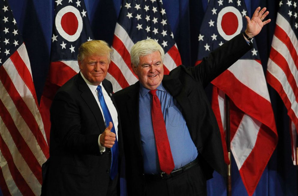 PHOTO: Former Speaker of the House Newt Gingrich introduces Republican Presidential candidate Donald Trump during a rally at the Sharonville Convention Center July 6, 2016, in Cincinnati.