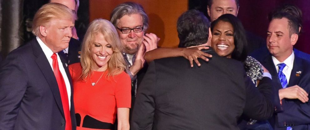 PHOTO: Donald Trump greets campaign manager Kellyanne Conway along with New Jersey Governor Chris Christie (back to camera) and staff member Omarosa Manigault (hugging Christie) after being declared the winner of the presidential election.