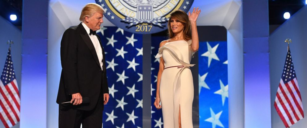 PHOTO:President Donald Trump and First Lady Melania Trump arrive at the Freedom Ball on January 20, 2017 in Washington, D.C.