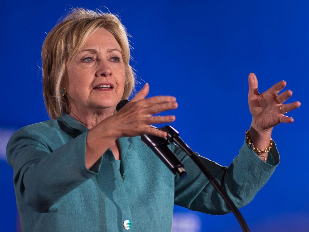 PHOTO: Democratic presidential nominee Hillary Clinton speaks to a boisterous crowd at a rally with about 1,400 people at the IBEW Local 357 Hall, Aug. 4, 2016, in Las Vegas.