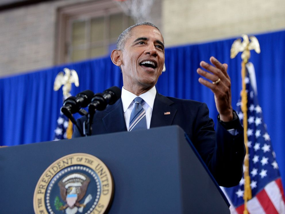 PHOTO: President Barack Obama speaks during a visit to Benjamin Banneker Academic High School to highlight the progress that has been made over the last eight years to improve education across the country, Oct. 17, 2016, in Washington.