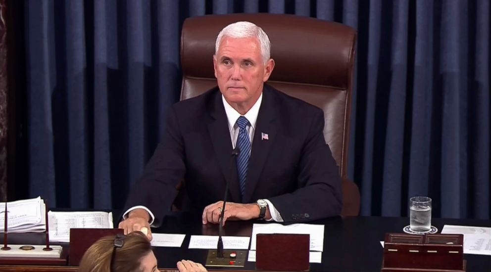 PHOTO: Vice President Mike Pence calls for the Sergeant at Arms to restore order in the Senate gallery as a protester yells during the start of the vote for the confirmation of Brett Kavanaugh to the Supreme Court in Washington, Oct. 6, 2018.