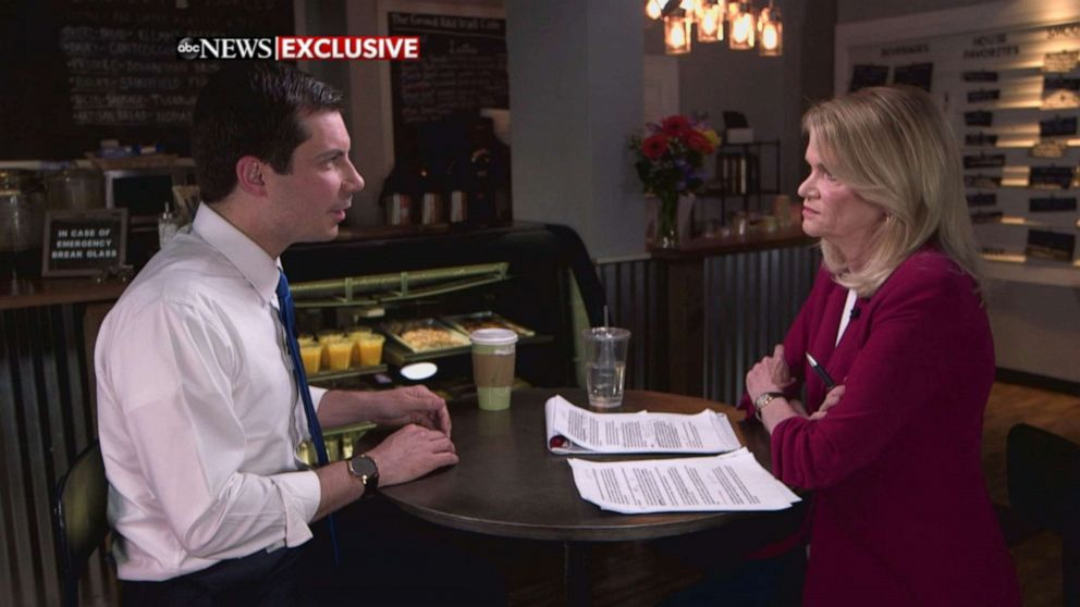 PHOTO: Pete Buttigieg speaks with ABC News Martha Raddatz on an episode of This Week.