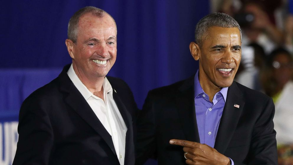Former President Barack Obama campaigns with Democratic candidate for New Jersey Governor Phil Murphy, Oct. 19, 2017 in Newark, N.J.