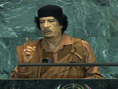 Video of Libyan leader Gadhafi addressing the UN general assembly.
