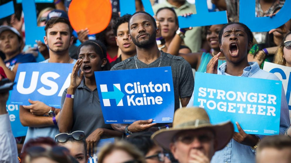 Supporters in the crowd for Hillary Clinton's campaign rally at the Pasco-Hernando State College campus in Dade City, Florida, Nov, 1, 2016.
