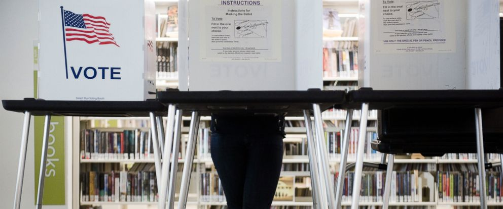 PHOTO: Early voting underway at the Central Library in Madison, Wisconsin, Oct. 14, 2016.