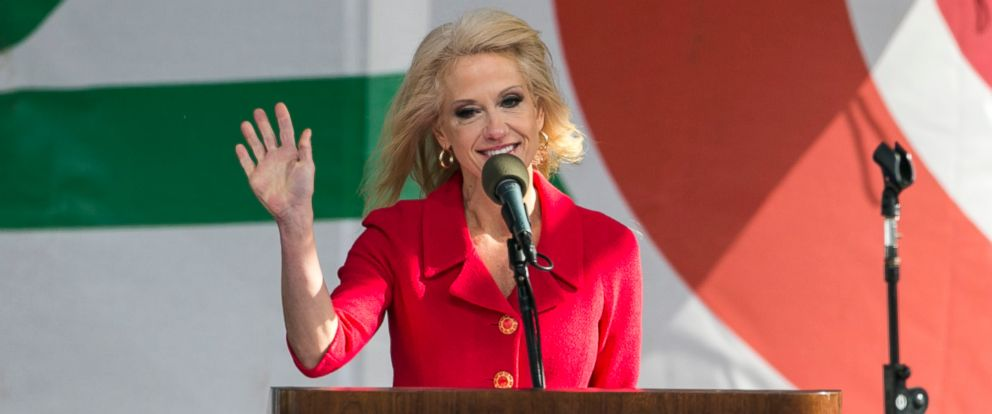 PHOTO: Kellyanne Conway, counselor to the president, speaks on stage at the March for Life rally on the National Mall in Washington, Jan. 27, 2017.