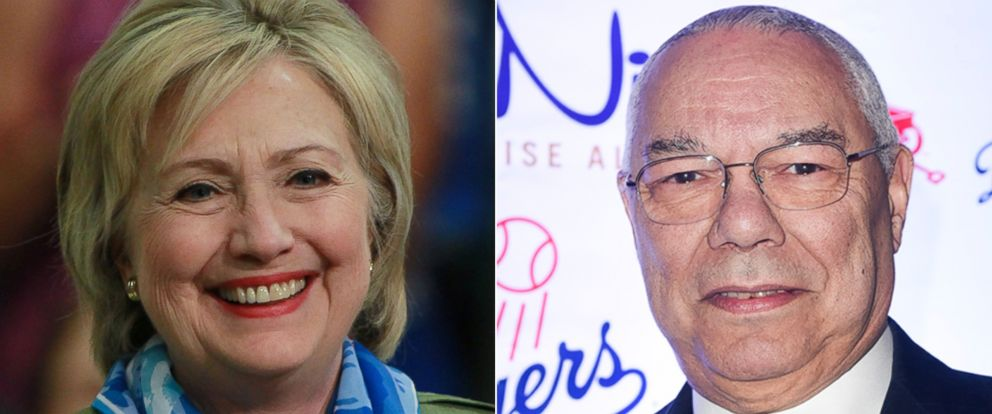 PHOTO: Hillary Clinton campaigns in Commerce City, Colorado, on Aug. 3, 2016 | Colin Powell attends the Americas Promise Alliances Promise Night Gala 2016 at Howard Theatre, on April 20, 2016, in Washington.