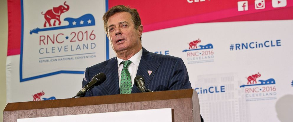 PHOTO: Paul Manafort, Donald Trumps campaign manager, briefs reporters on what to expect from Donald Trump at the 2016 Republican National Convention Republican National Convention, Quicken Loans Arena, Cleveland, July 17, 2016.