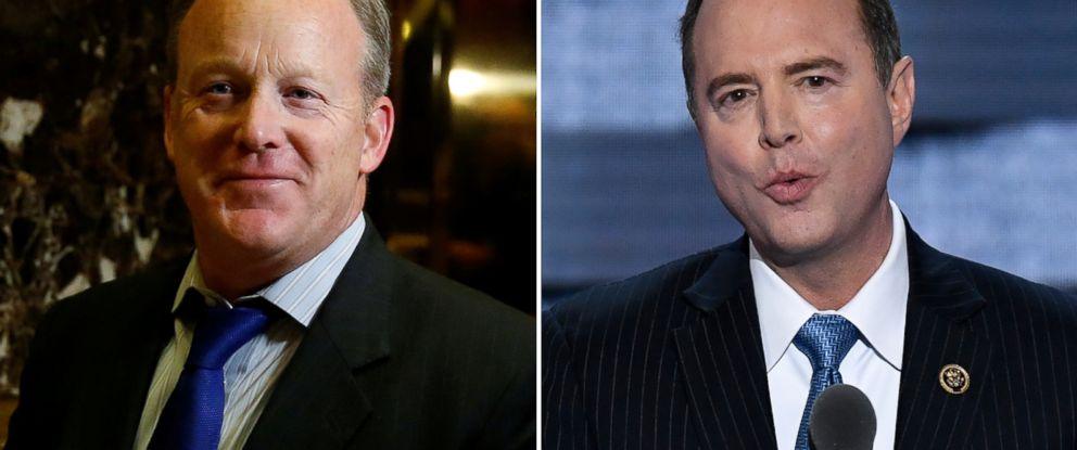PHOTO: Pictured (L-R) are Sean Spicer in New York, Nov. 14, 2016 and Rep. Adam Schiff in Philadelphia, July 27, 2016.