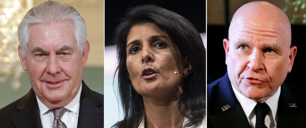 PHOTO: (L-R) Secretary of State Rex Tillerson in Washington, March 22, 2017, Ambassador to the United Nations Nikki Haley in Washington, March 27, 2017 and National Security Adviser Army Lt. Gen. H.R. McMaster in Palm Beach, Fla., Feb. 20, 2017.