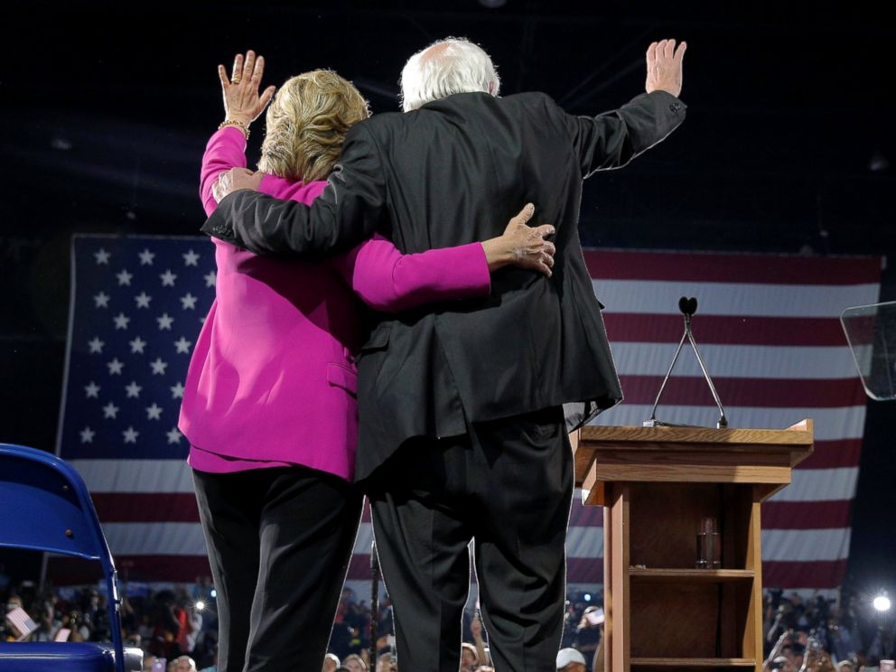 PHOTO: U.S. Democratic presidential nominee Hillary Clinton is joined by U.S. Senator Bernie Sanders at a campaign rally in Raleigh, North Carolina, Nov. 3, 2016.