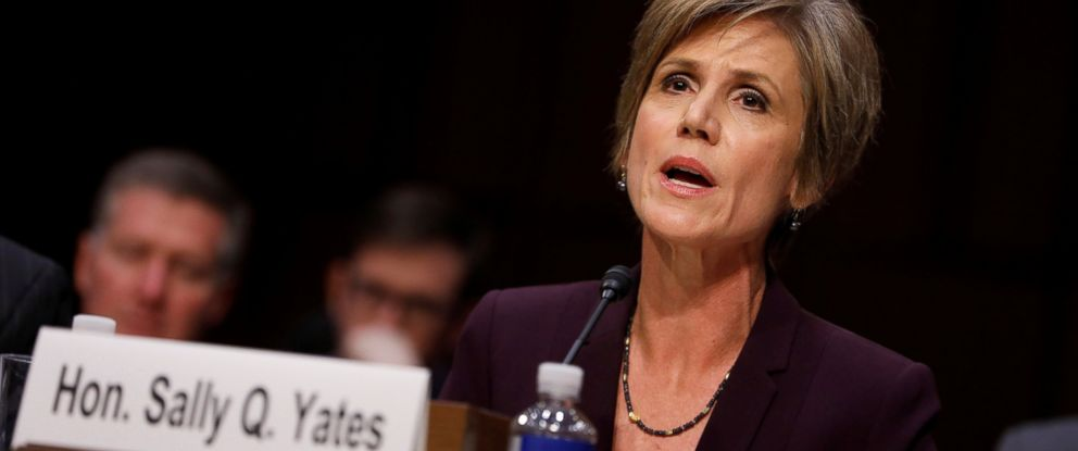 PHOTO: Former Acting Attorney General Sally Yates testifies about potential Russian interference in the presidential election before the Senate Judiciary Committee on Capitol Hill, on May 8, 2017, in Washington.