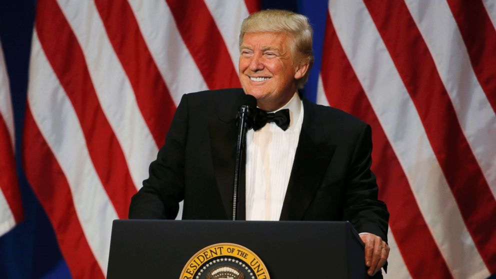 "President Donald Trump speaks at the ""Salute to Our Armed Forces"" inaugural ball during inauguration festivites in Washington, Jan. 20, 2016."