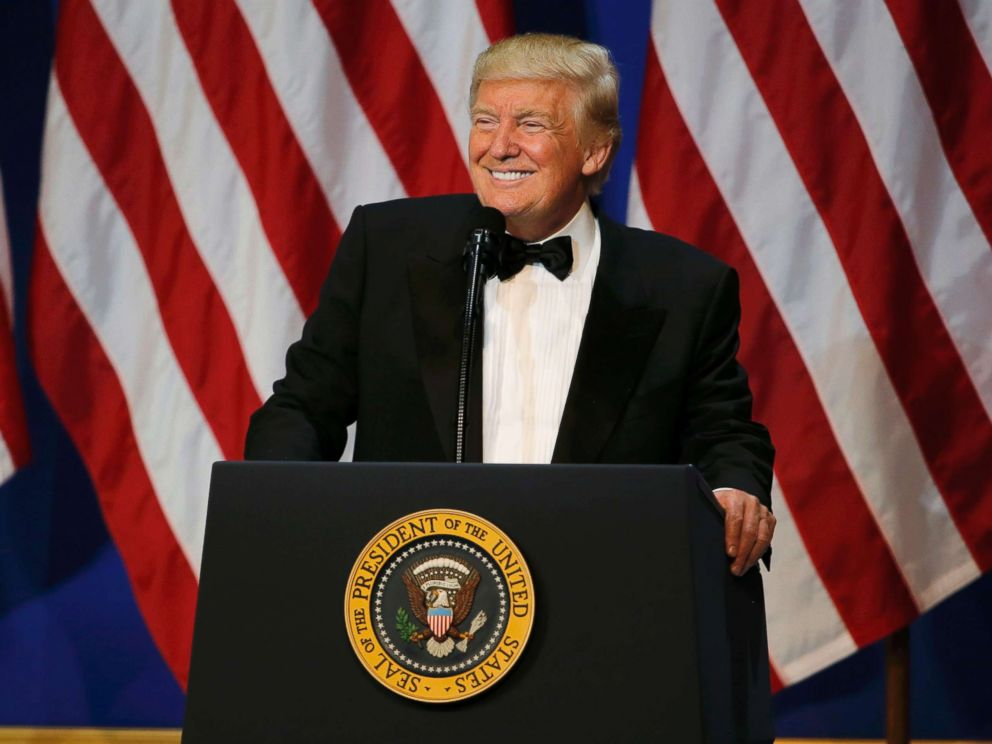 PHOTO: President Donald Trump speaks at the Salute to Our Armed Forces inaugural ball during inauguration festivites in Washington, Jan. 20, 2016.