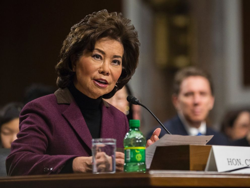 PHOTO: Transportation Secretary-designate Elaine Chao testifies on Capitol Hill in Washington, D.C., Jan. 11, 2017, at her confirmation hearing before the Senate Commerce, Science, and Transportation Committee.