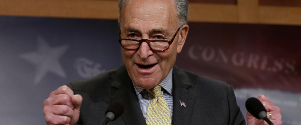 PHOTO: Senate Minority Leader Chuck Schumer speaks during a news conference on Capitol Hill in Washington, March 2, 2017.