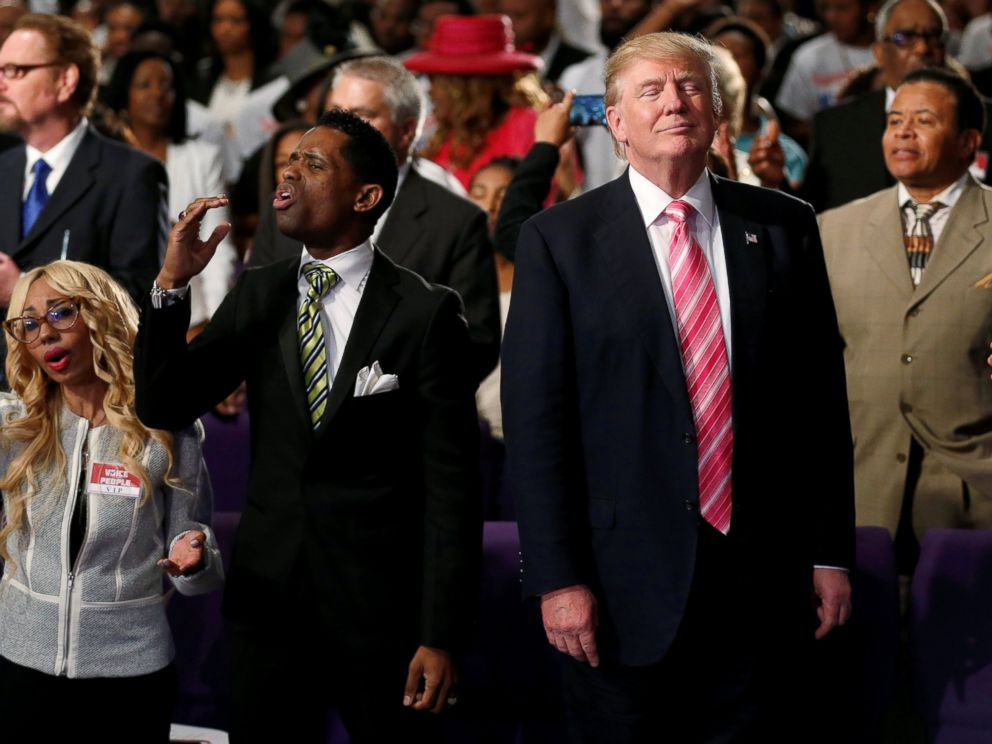 PHOTO: Republican presidential nominee Donald Trump attends a church service, in Detroit, Michigan, Sept. 3, 2016.