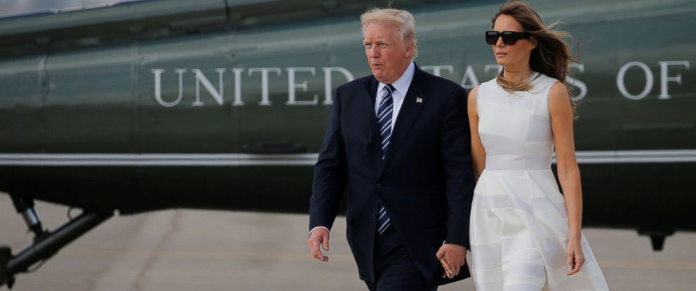 PHOTO: President Donald Trump and first lady Melania Trump hold hands as they arrive to board Air Force One for travel to Rome from Ben Gurion International Airport in Tel Aviv, Israel, May 23, 2017.
