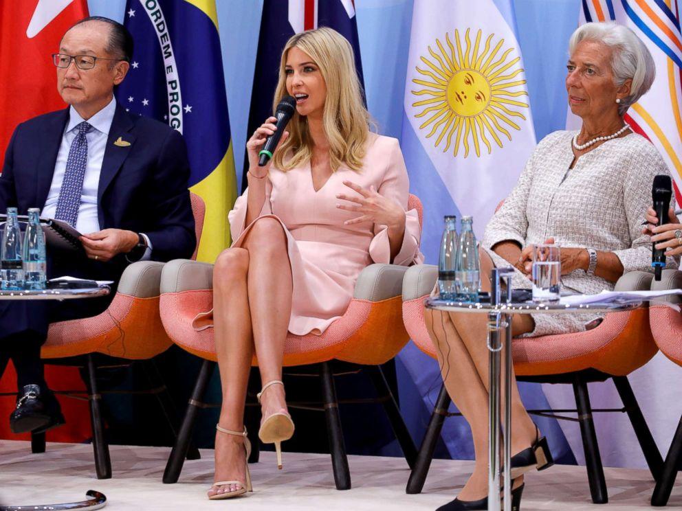 PHOTO: World Bank President Jim Yong Kim, Ivanka Trump and International Monetary Fund (IMF) Managing Director Christine Lagarde attend the Womens Entrepreneurship Finance event during the G20 leaders summit in Hamburg, Germany, July 8, 2017.